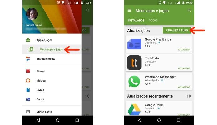 Atualização do WhatsApp pela Play Store (Foto: Reprodução/ Raquel Freire)