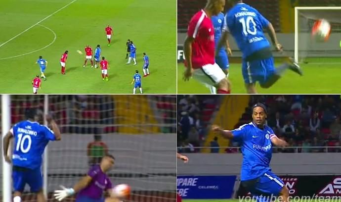 Montagem com lances de Ronaldinho Gaúcho em jogo festivo na Costa Rica