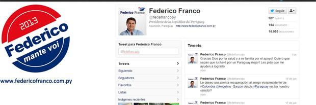 Conta de Federico Franco no Twitter, já atualizada neste sábado (23) (Foto: Reprodução)
