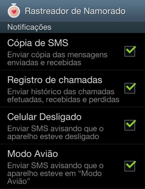 Tela do aplicativo 'Rastreador de Namorado' instalado em smartphone Android. (Foto: Reprodução)