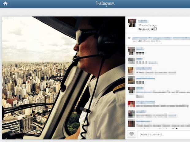 No perfil da mulher, foto de Thomaz Alckmin pilotando. (Foto: Reprodução/Instagram)