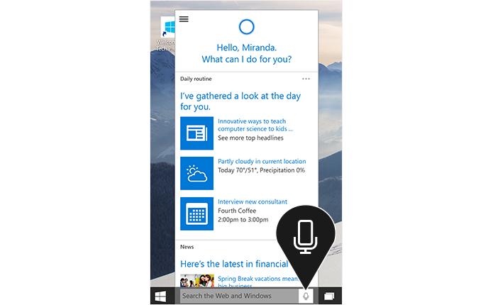 Cortana será capaz de reconhecer as características da voz do usuário (foto: Reprodução/Microsoft)
