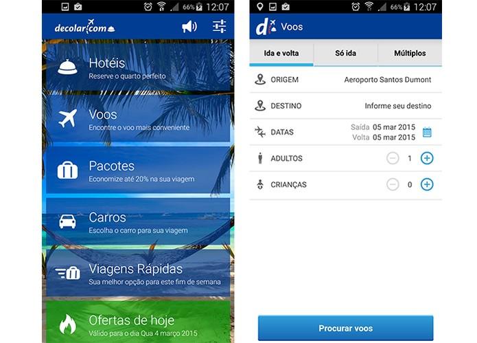 App decolar permite buscar por passagens aéreas mais baratas (Foto: Reprodução/Barbara Mannara)