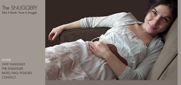 Site do Snuggerie, criado para oferecer serviço de 'dormir abraçado' para ajudar a relaxar (Foto: Reprodução)