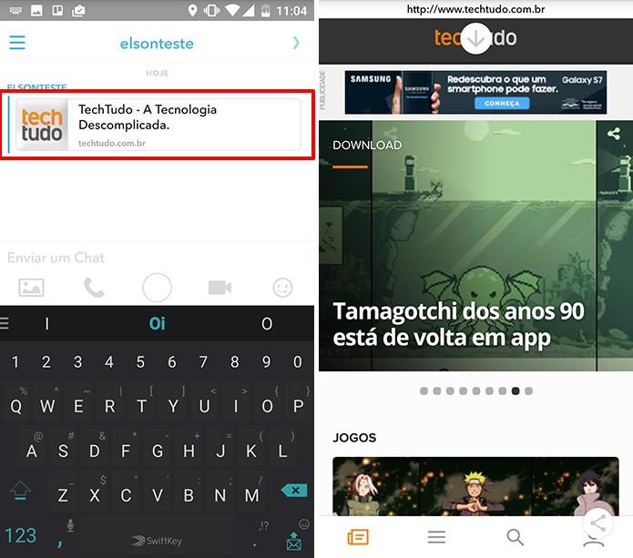 Snapchat tem navegador embutido no chat (Foto: Reprodução/Elson de Souza)