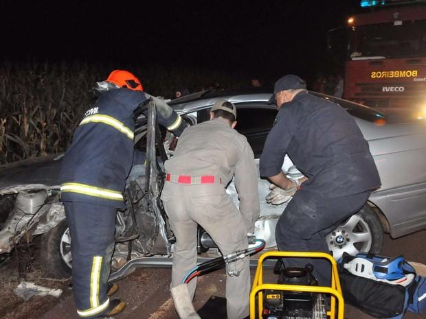 Motorista foi levado em estado grave a um hospital de Campo Mourão (Foto: Arquivo pessoal/ Diogo Anitele)