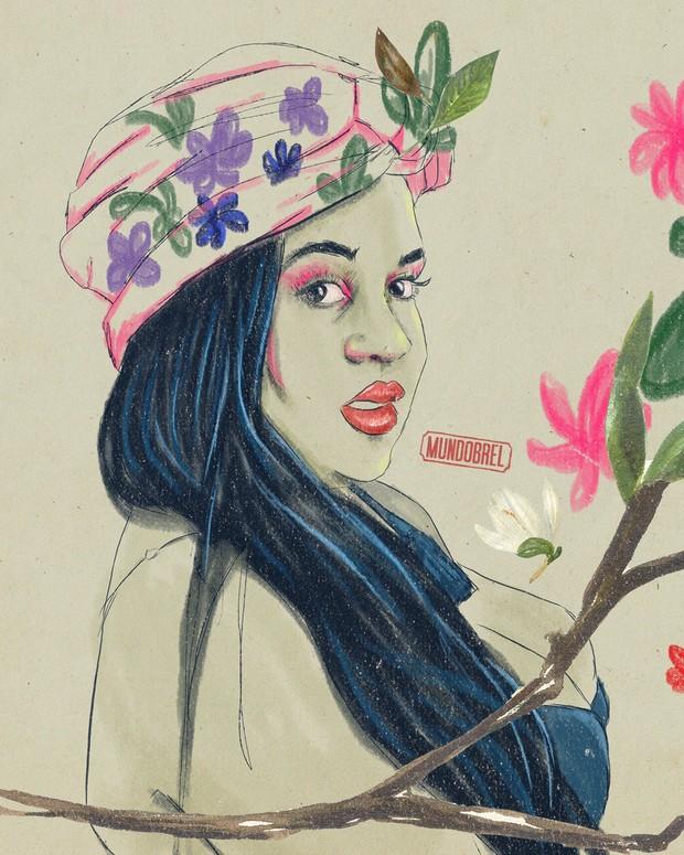 Ilustração de Roberta no Paparazzo (Foto: Gabriel Medeiros / @mundobrel )