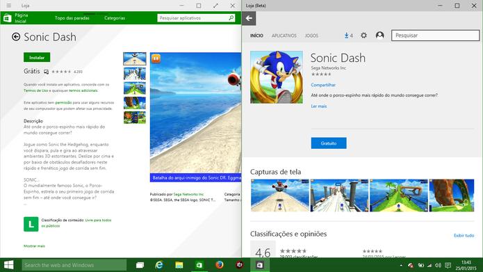 Windows Store adotará novo design (à direita) mais organizado que o atual (à esquerda) no Windows 10 (Foto: Reprodução/Elson de Souza)