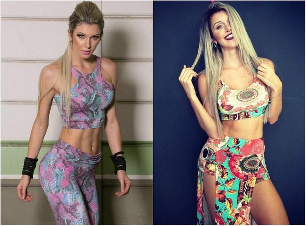 Tatiele Polyana antes e depois de ganhar quatro quilos (Foto: Arquivo pessoal)