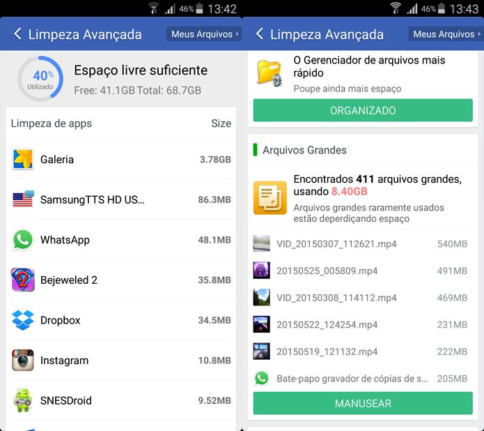 Clean Master permite controle avançado sobre os arquivos armazenados no Galaxy S4 (Foto: Reprodução/Filipe Garrett)