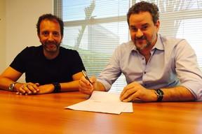 Dan Stulbach e Diego Guebel, diretor geral de conteúdo da Band (Foto: Instagram)