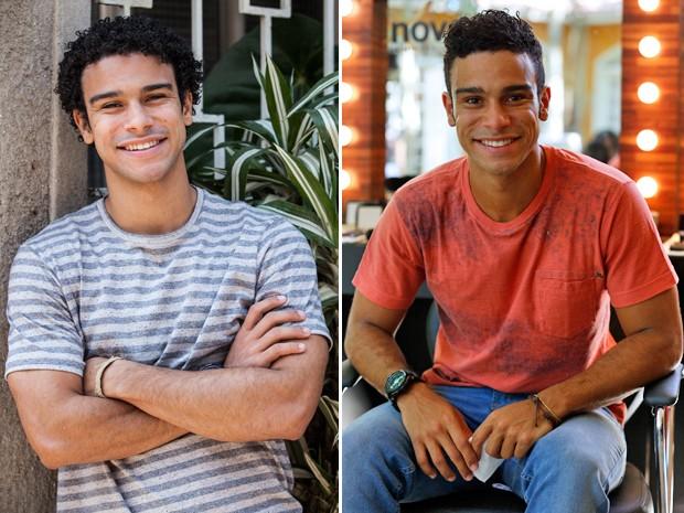 Emerson antes e depois de cortar o cabelo (Foto: Raphael Dias e Ellen Soares/ Gshow)