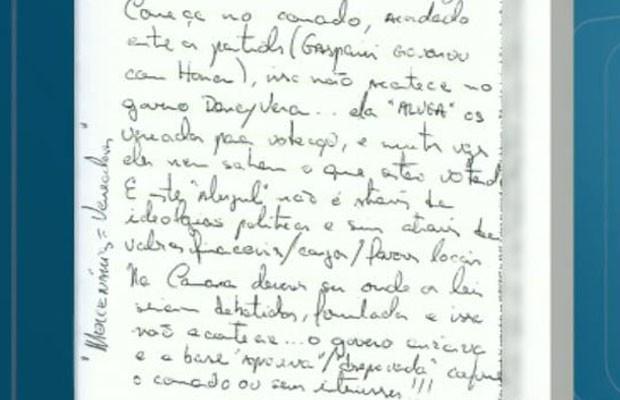 Carta escrita por Marcelo Plastino faz acusações contra a ex-prefeita de Ribeirão Preto, Dárcy Vera (Foto: Reprodução/EPTV)