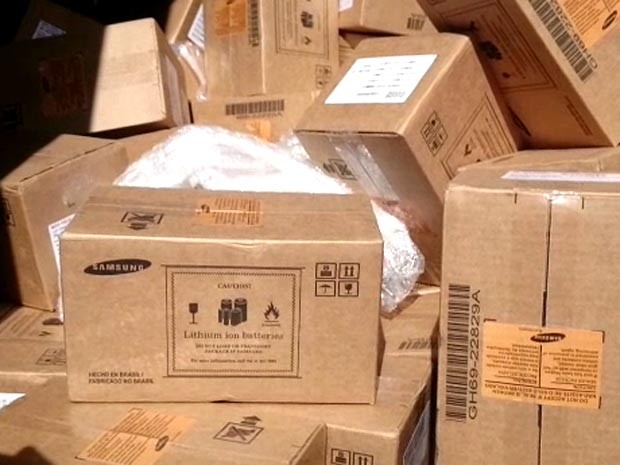 Caixas dos aparelhos roubados estavam em caminhão localizado em Sumaré (Foto: Reprodução / EPTV)