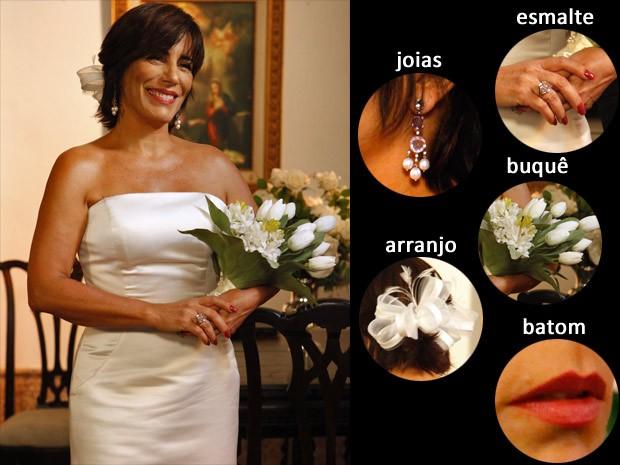 Confira os detalhes do visual de noiva de Roberta! (Foto: Guerra dos Sexos / TV Globo)