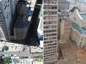 Imagens de janeiro de 2009 (esq.) e deste domingo, 29 de janeiro, permitem comparar a esquina onde ocorreu o desabamento (Foto: João Carlos Rebello Caribé/G1 e Bernardo Tabak/G1)