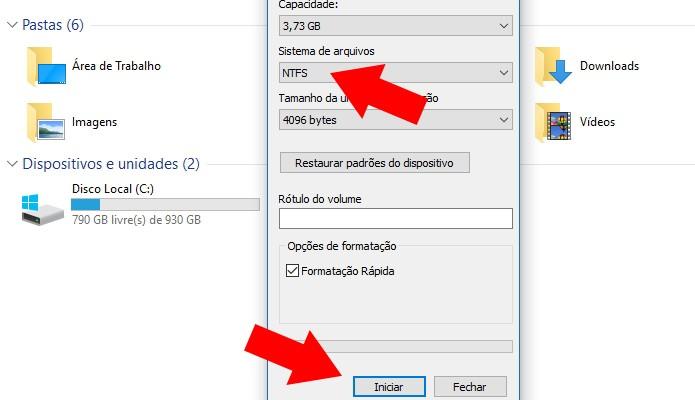 Formate em NTFS (Foto: Reprodução/Paulo Alves)