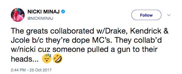 Um trecho do desabafo de Nick Minaj nas redes sociais (Foto: Twitter)