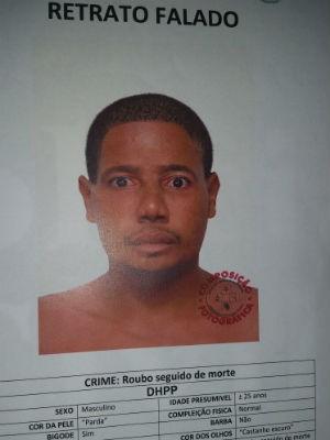 Retrato falado de suspeito de matar jovem no Costa Azul, em Salvador (Foto: Divulgação/DHPP)