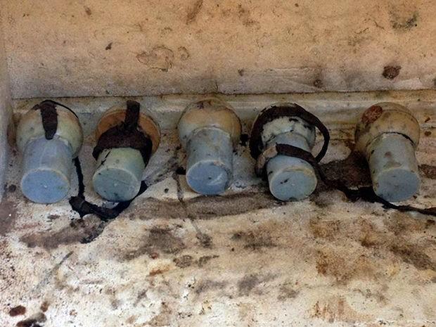 Família achou bombas enterradas em casa de ex-combatente da 2º Guerra Mundial (Foto: Polícia Civil de MT)