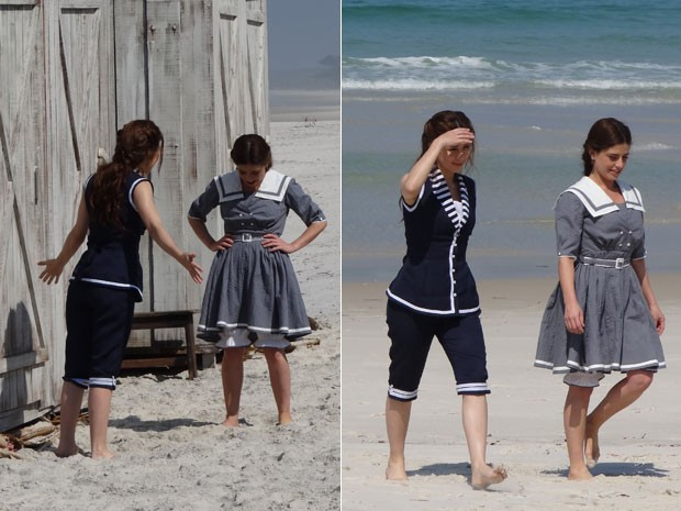 Laura e Sandra na praia (Foto: Lado a Lado/Tv Globo)