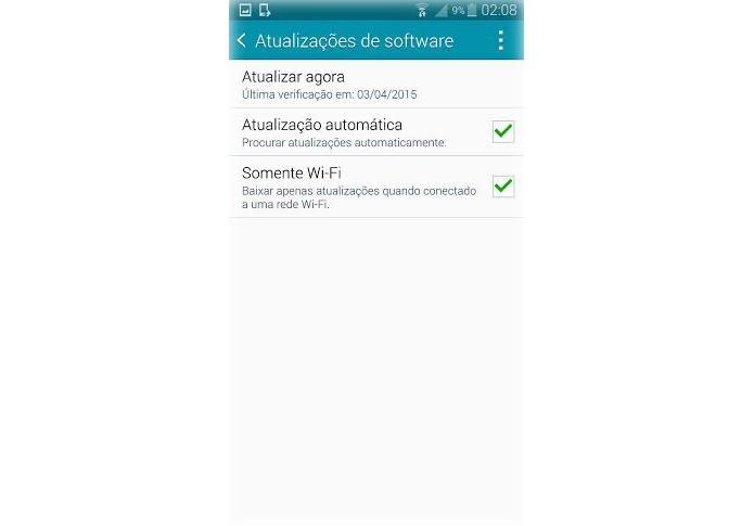 """Clique em """"Atualizar Agora"""" para fazer o update do Lollipop no Note 4 (Foto: Reprodução/Lucas Mendes)"""