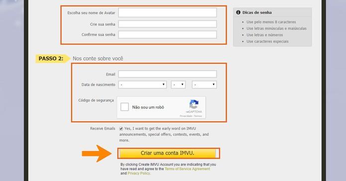 Adicione as informações do avatar e pessoais para iniciar a conta no IMVU (Foto: Reprodução/Barbara Mannara)