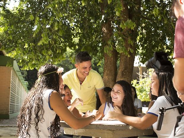 Professor Wemerson com os alunos em Boa Esperança (Foto: Arquivo Pessoal/Wemerson Nogueira)