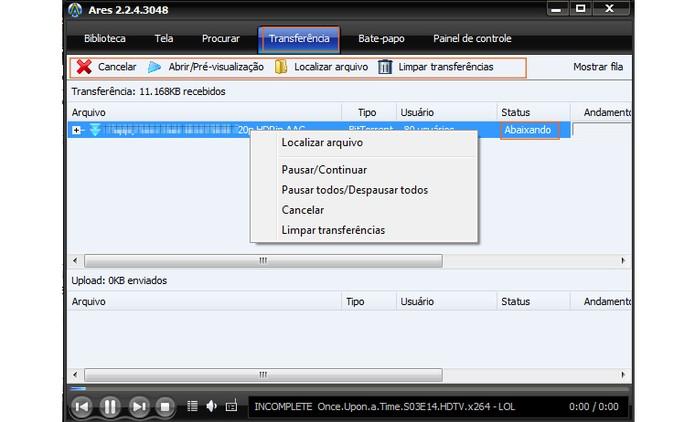 Ações para gerenciar os torrents (Foto: Reprodução/Barbara Mannara)
