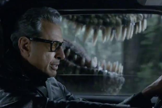 Jeff Goldblum em cena recriada de Jurassic Park (Foto: reprodução)