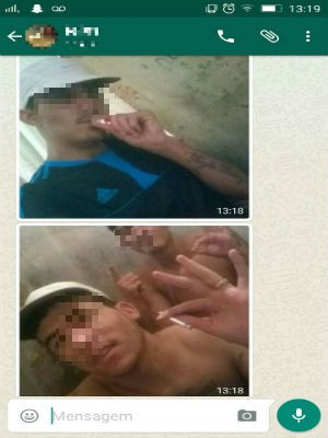 Imagens dos presos usando droga dentro da carceiragem chegou até a polícia (Foto: Reprodução / WhatsApp)