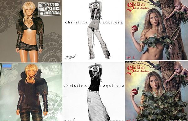 Britney Spears, Christina Aguilera, Shakira (Foto: Bored Panda)