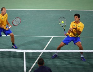 Bruno Soares e Marcelo Melo na Olimpíada contra Djokovic e Zimonjic