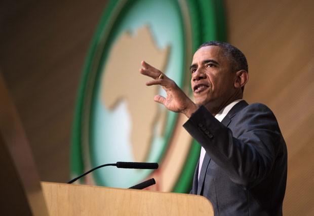 O presidente dos Estados Unidos, Barack Obama, faz discurso na União Africana em Adis Abeba, na Etiópia, nesta terça-feira (28)  (Foto: Saul Loeb/AFP)