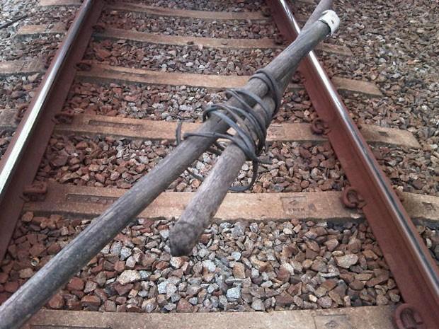 Pedaços de madeira jogados em trem da CPTM (Foto: CPTM/Divulgação)