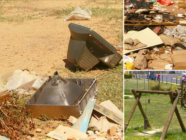 Parque recém inaugurado de Paulínia tem entulho, lixo e brinquedos quebrados (Foto: Reprodução / EPTV)