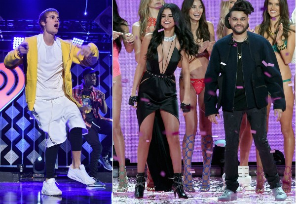 Justin Bieber, Selena Gomez e The Weeknd (Foto: Getty Images)