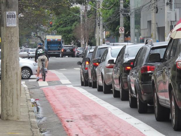 Ciclovia em Moema foi a primeira em São Paulo (Foto: Caio Prestes/G1)