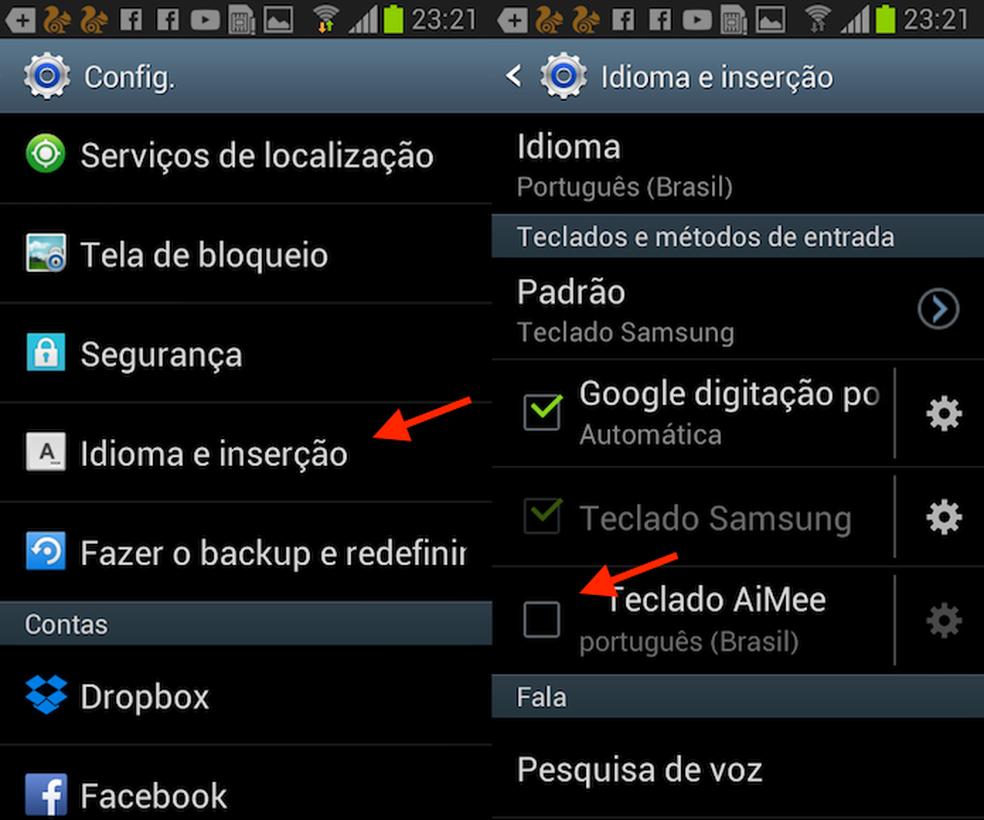 Opção para ativar o teclado AiMee no Android (Foto: Reprodução/Marvin Costa)