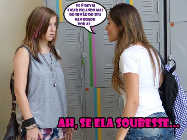 É, Lia, quem avisa amigo é...mas a Nanda não curte teu papo não... (Foto: Malhação / Tv Globo)