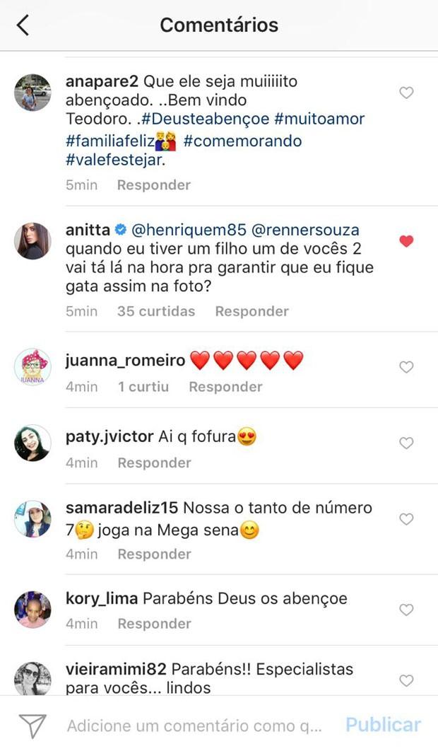 Anitta comenta foto sobre nascimento de segundo filho de Teló e Thais Fersoza (Foto: Reprodução)