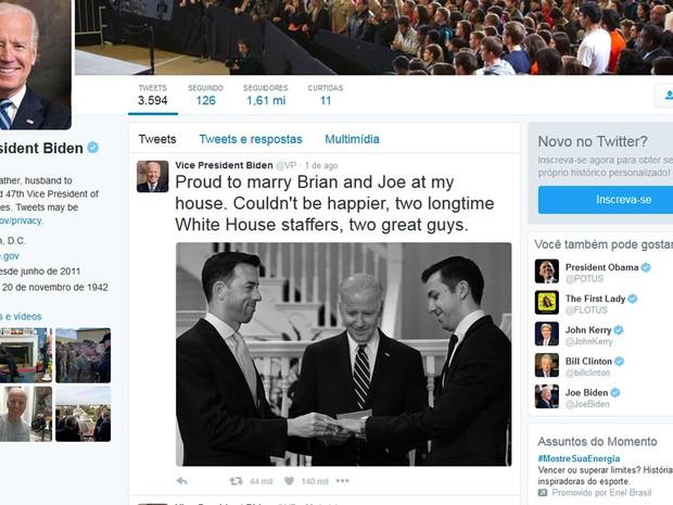 Joe Biden celebra casamento gay de Brian Mosteller e Joe Mahshie em sua casa, em Washington (Foto: Reprodução / Twitter / Joe Biden)