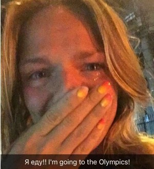 Nadadora russa Efimova se emociona ao ver decisão do CAS (Foto: Reprodução Twitter)
