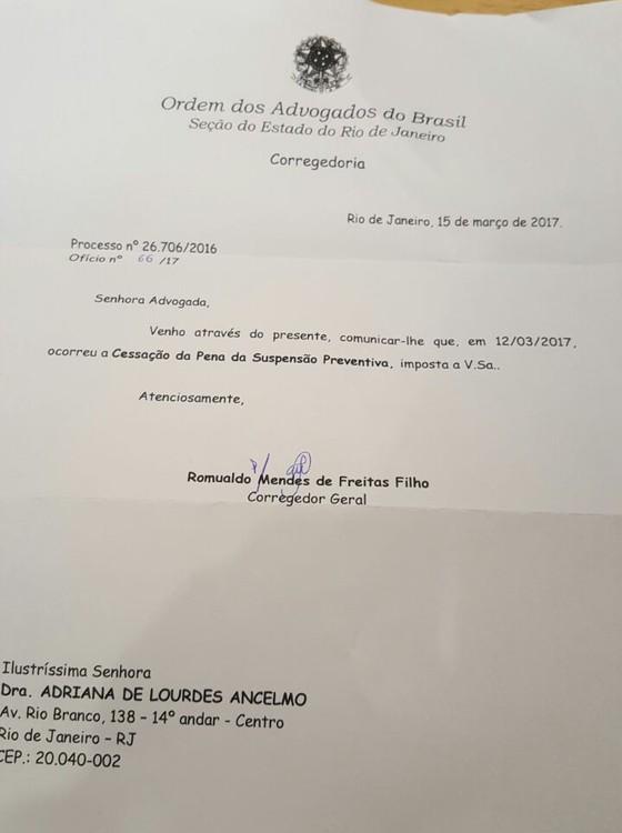 Cessação da pena da suspensão preventiva de Adriana Ancelmo, mulher do ex-governador do Rio Sérgio Cabral (Foto: Reprodução)