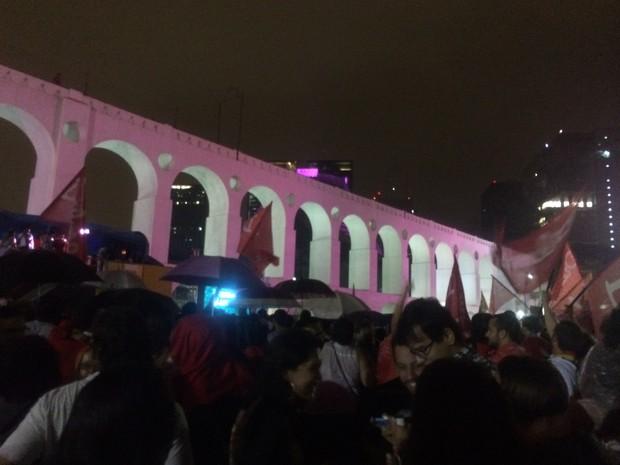 Festa petista nos Arcos da Lapa (Foto: Daniel Silveira / G1)