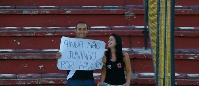Torcedor do Vasco em jogo contra o Audax pede por Juninho (Foto: Reprodução TV)