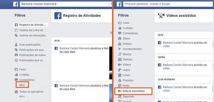 Encontre o item de vídeos assistidos no menu lateral do Facebook (Foto: Reprodução/Barbara Mannara)
