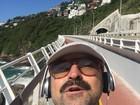 Emílio Orciollo Netto dá 'corridinha' na ciclovia Tim Maia: 'Vamo que vamo'