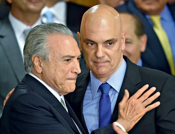 Presidente Michel Temer e  Alexandre de Moraes  (Foto: EVARISTO SA/AFP)
