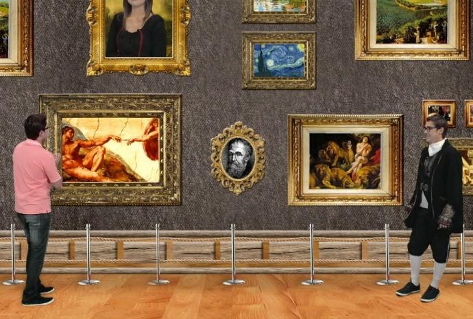 O pintor Michelangelo deu uma passadinha no Revista de Sábado (Foto: Reprodução / TV TEM)